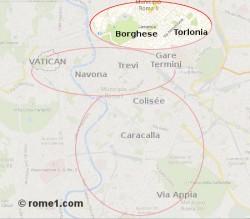 Nord du centre historique de Rome