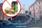 Interdit de boire et manger sur les escaliers de la place d'Espagne